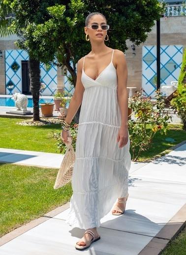Morhipo Beach Kadın Askılı Uzun Elbise MBKSS21EL0007 Beyaz
